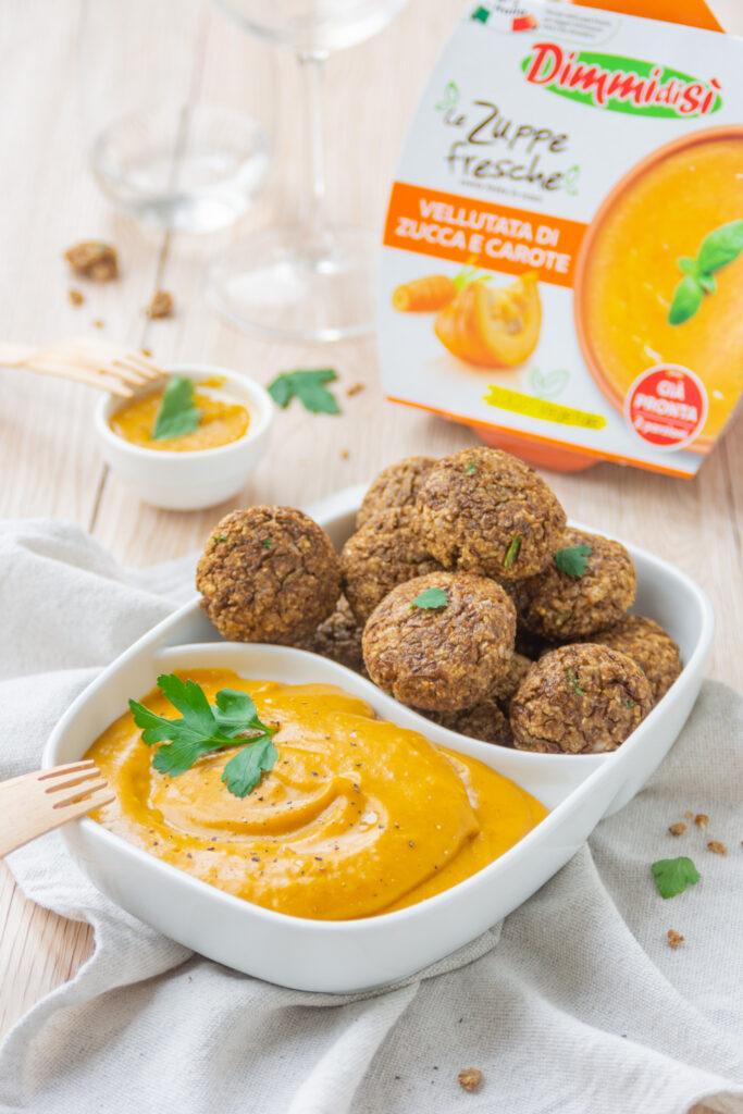 Falafel di lenticchie con crema di zucca e carote